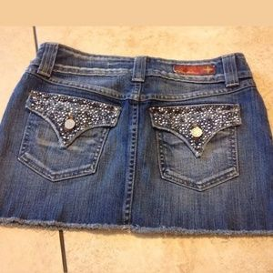 Flying Monkey jean bling skirt flap pockets S 28